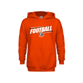 Youth Orange Fleece Hoodie-Football Slanted w/Falcon Shield