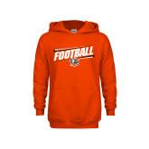 Youth Orange Fleece Hoodie-Football Slanted w/Falcon Shield