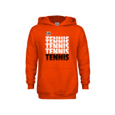 Youth Orange Fleece Hoodie-Tennis Repeating w/ Falcon Shield