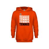 Youth Orange Fleece Hoodie-Tennis Repeating w/ Falcon Shield