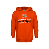 Youth Orange Fleece Hoodie-Volleyball Can You Dig It