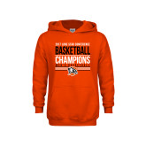 Youth Orange Fleece Hoodie-2017 Lone Star Conference Champions - Mens Basketball
