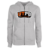 ENZA Ladies Grey Fleece Full Zip Hoodie-UTPB Falcons