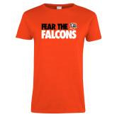 Ladies Orange T Shirt-Fear The Falcons
