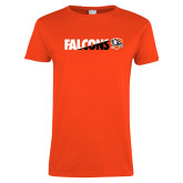 Ladies Orange T Shirt-Falcons Split Two-Tone