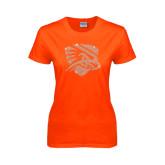 Ladies Orange T Shirt-Falcon Shield Rhinestones
