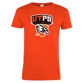 Ladies Orange T Shirt-Official Logo Distressed