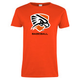 Ladies Orange T Shirt-Baseball