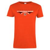 Ladies Orange T Shirt-UT Permian Basin Football Flat w/ Football