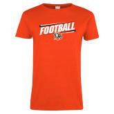 Ladies Orange T Shirt-Football Slanted w/Falcon Shield