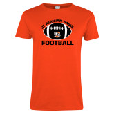 Ladies Orange T Shirt-UT Permian Basin Arched w/ Full Ball
