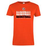 Ladies Orange T Shirt-UT Permian Basin Basketball Repeating