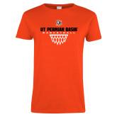 Ladies Orange T Shirt-UT Permian Basin Basketball w/Net Icon
