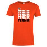 Ladies Orange T Shirt-Tennis Repeating w/ Falcon Shield