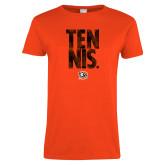 Ladies Orange T Shirt-Tennis Stacked