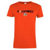 Ladies Orange T Shirt-Volleyball Flat w/ Ball