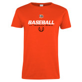 Ladies Orange T Shirt-UT Permian Baseball Stencil w/ Ball