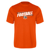 Performance Orange Tee-Football Slanted w/Falcon Shield