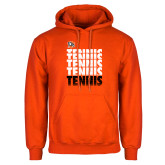 Orange Fleece Hoodie-Tennis Repeating w/ Falcon Shield