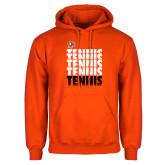 Orange Fleece Hoodie-Tennis Repeating w/ Falcon Shield