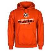 Orange Fleece Hoodie-Volleyball Can You Dig It