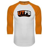 White/Orange Raglan Baseball T Shirt-UTPB Falcons