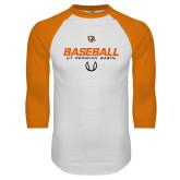 White/Orange Raglan Baseball T Shirt-UT Permian Baseball Stencil w/ Ball