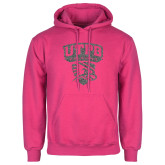 Fuchsia Fleece Hoodie-Official Logo Graphite Glitter