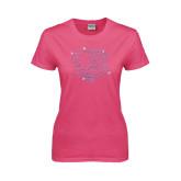 Ladies Fuchsia T Shirt-Falcon Shield Rhinestones