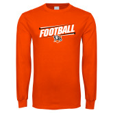 Orange Long Sleeve T Shirt-Football Slanted w/Falcon Shield