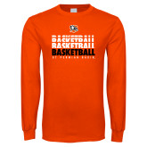Orange Long Sleeve T Shirt-UT Permian Basin Basketball Repeating