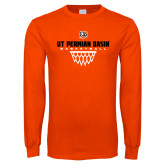 Orange Long Sleeve T Shirt-UT Permian Basin Basketball w/Net Icon