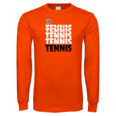 Orange Long Sleeve T Shirt-Tennis Repeating w/ Falcon Shield