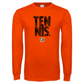 Orange Long Sleeve T Shirt-Tennis Stacked