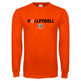 Orange Long Sleeve T Shirt-Volleyball Flat w/ Ball