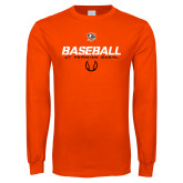 Orange Long Sleeve T Shirt-UT Permian Baseball Stencil w/ Ball