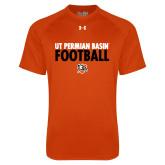 Under Armour Orange Tech Tee-UT Permian Basin Football Stacked