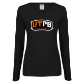 Ladies Black Long Sleeve V Neck T Shirt-UTPB Falcons
