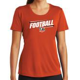 Ladies Syntrel Performance Orange Tee-Football Slanted w/Falcon Shield