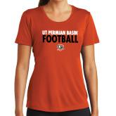 Ladies Syntrel Performance Orange Tee-UT Permian Basin Football Stacked