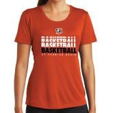 Ladies Syntrel Performance Orange Tee-UT Permian Basin Basketball Repeating