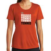 Ladies Syntrel Performance Orange Tee-Tennis Repeating w/ Falcon Shield
