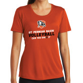 Ladies Syntrel Performance Orange Tee-Volleyball Can You Dig It