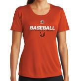 Ladies Syntrel Performance Orange Tee-UT Permian Baseball Stencil w/ Ball