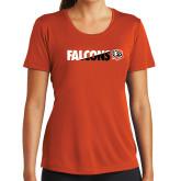 Ladies Syntrel Performance Orange Tee-Falcons Split Two-Tone