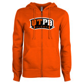 ENZA Ladies Orange Fleece Full Zip Hoodie-UTPB Falcons