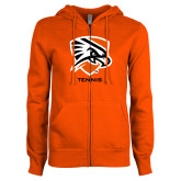 ENZA Ladies Orange Fleece Full Zip Hoodie-Tennis