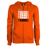 ENZA Ladies Orange Fleece Full Zip Hoodie-Tennis Repeating w/ Falcon Shield