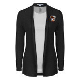 Ladies Black Open Front Cardigan-Official Logo