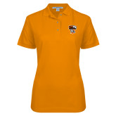 Ladies Easycare Orange Pique Polo-Official Logo